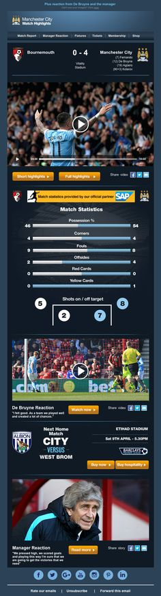 Awesome email design from Manchester City Football Club. Also features a drop down hamburger menu on mobile. #emaildesign