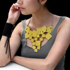 Tumbling Squares Leather Necklace