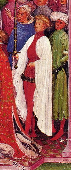 from a late XIV/early XV Sachsenspiegel. I really dig the grand assiette with big sleeves and dual colour setup. The grand assiette is always tied to the short skirt Renaissance, Clermont, Medieval Costume, Project, Old Clothes, Doublet, Medieval Clothing, 2d Art, Frappe