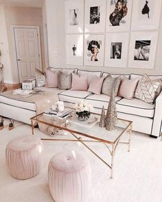 Chanel & Glam Inspired living room makeover - J'adore Lexie Couture This makeover has been in the works for nearly 5 months and I'm so excited… Living Room Sofa, Living Room Furniture, Living Room Decor, Living Spaces, Modern Furniture, Antique Furniture, Dog Spaces, Cozy Living, Apartment Living