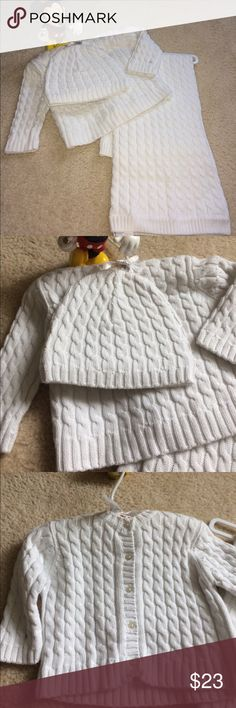 Vitamins Baby knitted blanket, hat, sweater.0-6 M New Vitamins Baby knitted blanket, hat, sweater.0-6 Months. The set is store display may need cleaning. Color is off white. 100% cotton Vitamins Baby Other