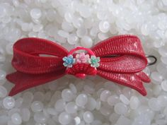 vintage Celluloid  hair barrette red bow with by rosebudcottage, $14.00