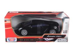 Lamborghini LP 560-4 Black 1/18 Diecast Car Model by Motormax - Brand new 1:18 scale diecast car model of Lamborghini LP 560-4 Black die cast car by Motormax. Has steerable wheels. Brand new box. Rubber tires. Has opening hood, doors and trunk. Made of diecast with some plastic parts. Detailed interior, exterior, engine compartment. Dimensions approximately L-10, W-4, H-3.5 inches. Please note that manufacturer may change packing box at anytime. Product will stay exactly the same.-Weight: 4…