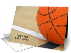 Thank You to Basketball Coach-basketball with customized name card