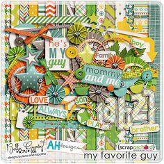 Digital Scrapbook Kit - My Favorite Guy by Bella Gypsy Designs & Amanda Heimann Designs.