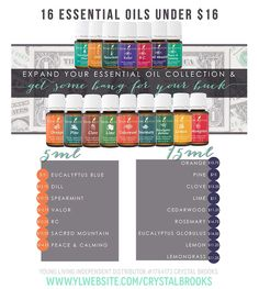 16 Essential Oils for Under $16! A few of my favorites are on this list...it's a good thing because I have a serious Valor hoarding problem!! I also always have tons of cedarwood on hand. R.C. is a MUST in the winter and helped us all unclog from the winter break crud. Lemon is a staple... So many good things on this list! I like that I can keep well stocked without breaking the bank!  www.youngliving.com/kcollins0207