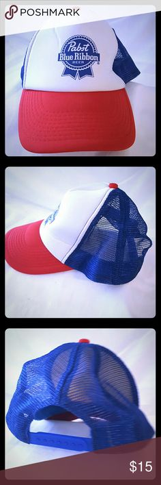 Pabst Blue Ribbon Beer Trucker Snapback Mesh Hat Well designed hat with superior embroidered team graphics and adjustable closure for a comfortable fit.  Condition: Very Good  Style: Baseball Cap Material: 100% polyester/100% Nylon Mesh  Size: One Size Fits Most For: Adults- Men/Women/Unisex Brand: Team Apperal   Shows signs of wear  100% Satisfaction with us   Items are shipped within 1 business day & shipped with care   Please review all pictures and descriptions to verify what you are…