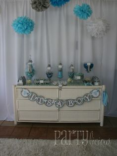 What a pretty baby shower dessert table