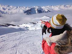 Vue sur les sommets depuis les pistes d'Albiez. #albiez #merdenuage #village #pistes #ski #chalet #maurienne