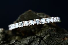 14k Rose Gold Diamond Full Eternity Matching Band Bridal Ring Diamond Wedding Ring Anniversary Ring (Other Metal Available) by loveforeverjewelrysv on Etsy