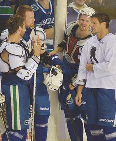 Chris Higgins, Daniel Sedin, Henrik Sedin, Kevin Bieksa -- the boys Hockey Teams, Hockey Players, Ice Hockey, Vancouver Canucks, Henrik Sedin, Love My Boys, My Love, Win Or Lose, Win A Trip