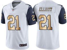 ef8aab9650d Dallas Cowboys  21 Ezekiel Elliott White Gold Special Color Rush Jersey
