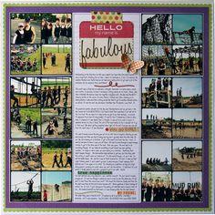 Fabulous - square photos - 24 photo scrapbook layout - grid layout - lots of journaling - mud run scrapbook layout