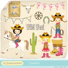 Cowgirls digital clipart scrapbooking web by hjIllustrations, $5.00