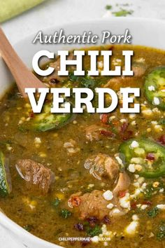 This chili verde is made with pork shoulder simmered in a spicy tomatillo salsa verde sauce. This easy recipe can be made on the stove top, in a crockpot or instant pot. # very Easy Recipes Chile Verde Recipe Tomatillo Salsa Verde, Tomatillo Recipes, Authentic Mexican Recipes, Authentic Chile Verde Recipe, Authentic Posole Recipe Pork, Easy Mexican Food Recipes, Easy Recipes, Crowd Recipes, Cheap Recipes