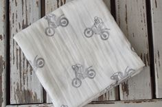 Muslin Swaddle baby blanket hand stamped motocross dirt bike baby
