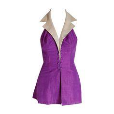 1940's Gloria DeHaven Worn Purple-Silk Halter Hourglass Playsuit Ensemble 1