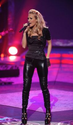 Sexy-Hot & Leggy Carrie Underwood!!! I LOVE those tight, PVC pants!!!