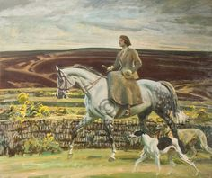 Mrs Munnings On Exmoor with Dog. By Sir Alfred Munnings