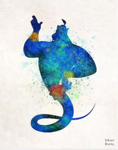 Genie Disney Print Watercolor Aladdin Poster by InkistPrints - Shipping Worldwide! [Click Photo for Details] Disney And Dreamworks, Disney Films, Disney Pixar, Disney Love, Disney Magic, Disney Art, Watercolor Disney, Watercolor Art, Image Deco