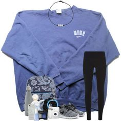 A fashion look from December 2017 featuring NIKE sweatshirts, NIKE activewear pants and NIKE sneakers. Browse and shop related looks. Cute Lazy Outfits, Cute Outfits For School, Teenage Outfits, Teen Fashion Outfits, Simple Outfits, Outfits For Teens, Trendy Outfits, Casual Athletic Outfits, Simple College Outfits