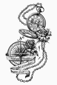 dessin tatouage gousset, boussole et chaine