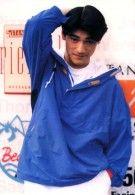 Takeshi Kaneshiro in bright blue jacket with his short hairstyle | foto awal dia terkenal tahun 1990an :P