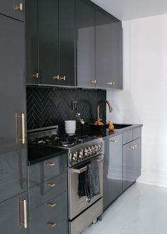 Black chevron splashback...+kaboodle kitchen