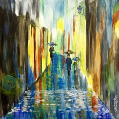 Buy Rainy Street, a Acrylic on Canvas by Sreedhar Unnamatla from United States. It portrays: Light, relevant to: acrylic, peacock, Indianart, INDIAN, contemporary, acryliconcanvas, abstract, illusion, music This painting inspires me to go for a long walk every time in the rains. It feels so romantic and three dimensional to immerse into the painting. The only subject in the painting that is not blurred is the lamp hanging on the wall, helping people see and appreciate the spectacle of a…