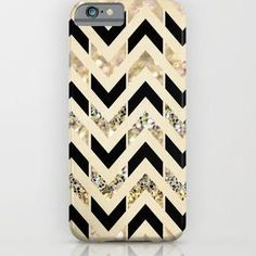 Black & Gold Glitter Herringbone Chevron on Nude Cream iPhone & iPod Case by…