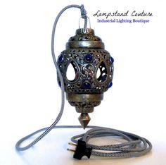 VINTAGE Inspired Metal Hanging PENDANT LIGHT With Cobalt Blue Jewels, White Porcelain Socket, Black and White Chevron Cloth Cord, Black Plug