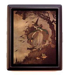 Art Nouveau Witch Woman Halloween Goth Deco Cigarette ID Case Wallet | eBay