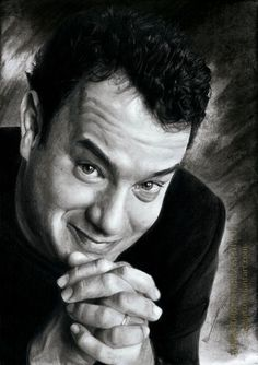 Tom Hanks by AmBr0 - charcoal and pencil drawing