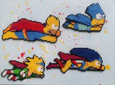 Long Black Fingers : Canvas Posted Simpson's Perler Beads