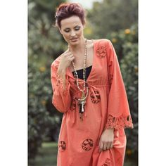 St Tropez Embroidery Cut Out Kaftan W Lace Hem from repertoire.co.nz
