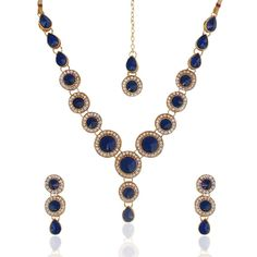 http://amzn.to/2poiCeb  Buy Ethnic indian jewelry bollywood blue circle stone diamentes necklace set b152 Online at Low Prices in India | Amazon Jewellery Store - Amazon.in