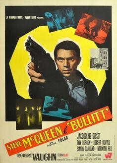 Bullit Steve McQueen Italian, 1969 - original vintage film poster for the award winning movie Bullitt starring Steve McQueen listed on AntikBar.co.uk