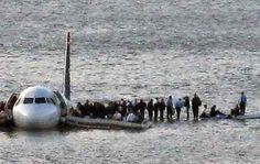 """Just two minutes after US Airways Flight 1549 took off from LaGuardia Airport on Jan. 15, 2009, it struck a flock of Canada Geese, immediately damaging both engines. Pilots realized they couldn't make it to an airport in time, and decided to land the plane on the Hudson River, warning passengers to """"Brace for impact."""" Within minutes, the plane was landed smoothly and all 155 people on board were safely evacuated."""