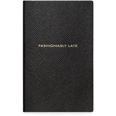 Smythson Panama Fashionably Late Leather Notebook (72 CAD) ❤ liked on Polyvore featuring home, home decor, stationery, books, fillers, notebooks and black