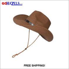 8f66eeae8a4 Men Wide Brim Straw Floppy Foldable Beach Hat