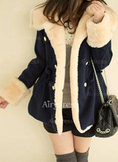 Coats - $25.77 - Wool & Wool Blend Long Sleeve Hooded Pockets Coats (1715223993)