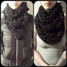 Items similar to Infinity Scarf - triple wrap circle scarf chunky textured loose knit black with dots on Etsy Circle Scarf, Knits, Knitting, Crochet, Etsy, Black, Fashion, Moda, Tricot