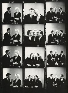 Marilyn with Laurence Olivier and Terence Rattigan. Photos by Milton Greene, 1956.