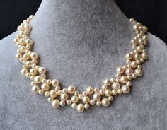 pearl necklaces16 inches 58mm ivory pearl by weddingpearl on Etsy, $28.00