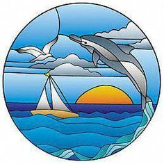 Dolphin Jumping in Sunset Pattern - Alpine Stained Glass and Door Stained Glass Crafts, Stained Glass Lamps, Stained Glass Designs, Stained Glass Panels, Stained Glass Patterns, Mosaic Glass, Fused Glass, Glass Boat, Glass Animals