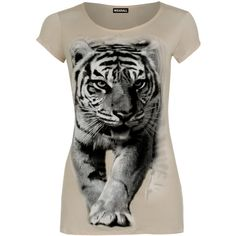 Haley Tiger Print Short Sleeve T-Shirt (670 RUB) ❤ liked on Polyvore featuring tops, t-shirts, mocha, scoopneck top, short sleeve tops, short sleeve t shirts, tiger print t shirt and scoop neck t shirt