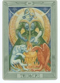 XIV. Temperance - Tarot Thot Crowley by Aleister Crowley and Frieda Harris