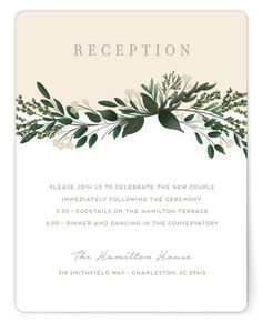A Dramatic Sweeping Bouquet Of Hand Drawn Botanicals In A Neutral Color Palette Create Special Space For The Watermark Monogram And Wedding Details. Botanical, Green, Pink Reception Cards From Minted By Independent Artist Kaydi Bishop. Green Wedding Invitations, Wedding Favor Tags, Wedding Invitation Design, Wedding Cards, Bridal Shower Favors, Bridal Shower Invitations, Save The Date Postcards, Watercolor Invitations, Wedding Background