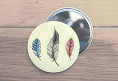 Feather Drawing Pocket Mirror by TheBowerStudio on Etsy, $5.00