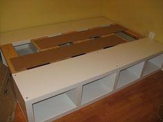 platform bed from lack shelves!